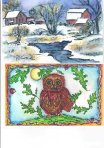Winter stream barn and owl