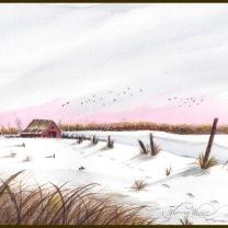 Winter barn & house