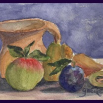 Still life apples pears
